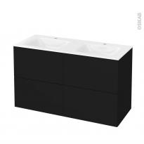 Meuble de salle de bains - Plan double vasque VALA - GINKO Noir - 4 tiroirs - Côtés décors - L120,5 x H71,2 x P50,5 cm