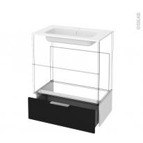 Tiroir sous meuble - Socle n°101 - GINKO Noir - pour meuble salle de bains - L80 x H26 x P45 cm