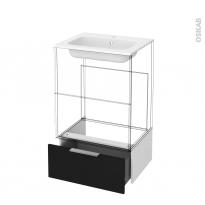 Tiroir sous meuble - Socle n°51 - GINKO Noir - pour meuble salle de bains - L60 x H26 x P45 cm