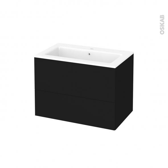 Meuble de salle de bains - Plan vasque NAJA - GINKO Noir - 2 tiroirs - Côtés décors - L80,5 x H58,5 x P50,5 cm