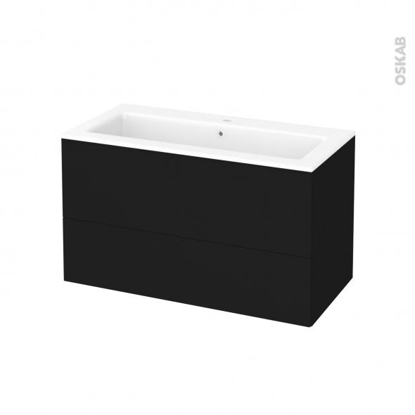 Meuble de salle de bains - Plan vasque NAJA - GINKO Noir - 2 tiroirs - Côtés décors - L100,5 x H58,5 x P50,5 cm
