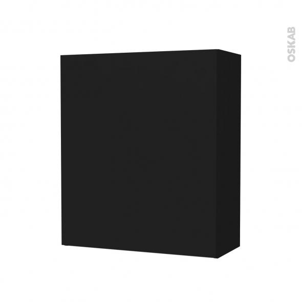 Armoire de salle de bains - Rangement haut - GINKO Noir - 1 porte - Côtés décors - L60 x H70 x P27 cm