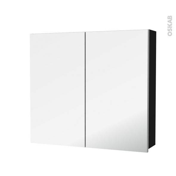 Armoire de toilette - Rangement haut - GINKO Noir - 2 portes miroir - Côtés décors - L80 x H70 x P17 cm