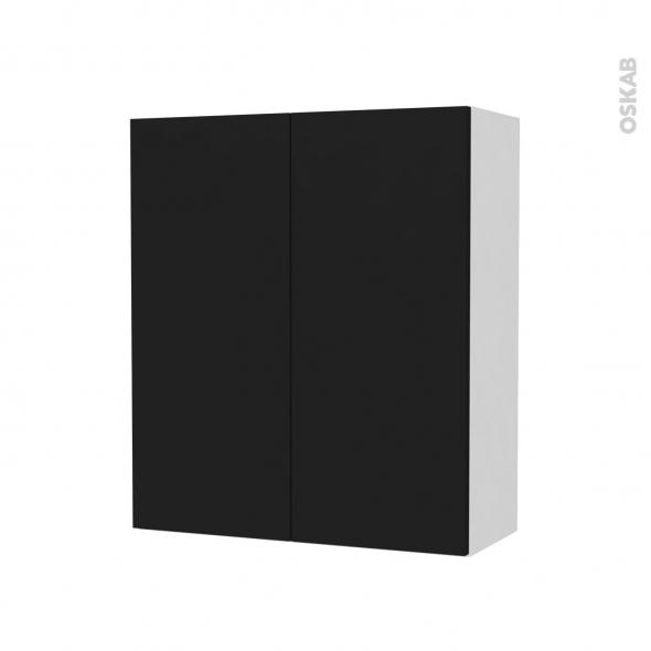 Armoire de salle de bains - Rangement haut - GINKO Noir - 2 portes - Côtés blancs - L60 x H70 x P27 cm