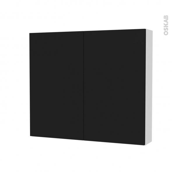 Armoire de toilette - Rangement haut - GINKO Noir - 2 portes - Côtés blancs - L80 x H70 x P17 cm