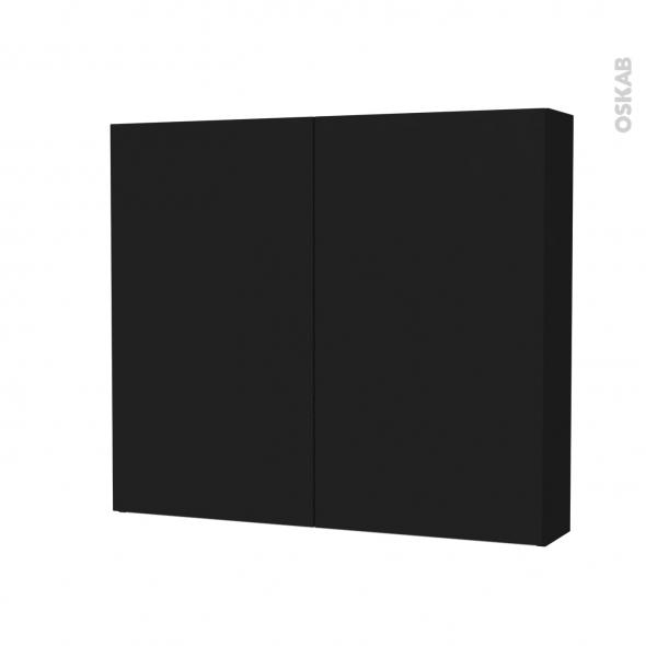 Armoire de toilette - Rangement haut - GINKO Noir - 2 portes - Côtés décors - L80 x H70 x P17 cm