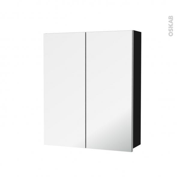 Armoire de toilette - Rangement haut - GINKO Noir - 2 portes miroir - Côtés décors - L60 x H70 x P17 cm