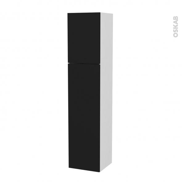 Colonne de salle de bains - 2 portes - GINKO Noir - Côtés blancs - Version A - L40 x H182 x P40 cm