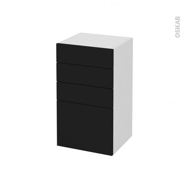 Meuble de salle de bains - Rangement bas - GINKO Noir - 4 tiroirs - L40 x H70 x P37 cm