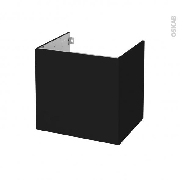 Meuble de salle de bains - Sous vasque - GINKO Noir - 1 porte - Côtés décors - L60 x H57 x P50 cm