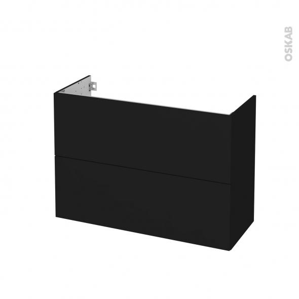 Meuble de salle de bains - Sous vasque - GINKO Noir - 2 tiroirs - Côtés décors - L100 x H70 x P40 cm