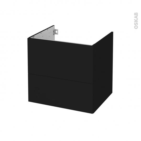 Meuble de salle de bains - Sous vasque - GINKO Noir - 2 tiroirs - Côtés décors - L60 x H57 x P50 cm