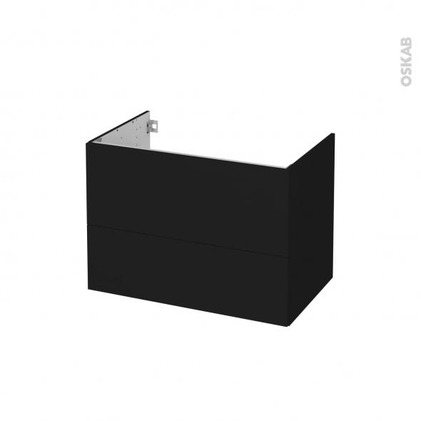 Meuble de salle de bains - Sous vasque - GINKO Noir - 2 tiroirs - Côtés décors - L80 x H57 x P50 cm