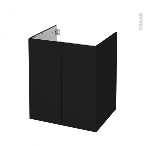Meuble de salle de bains - Sous vasque - GINKO Noir - 2 portes - Côtés décors - L60 x H70 x P50 cm