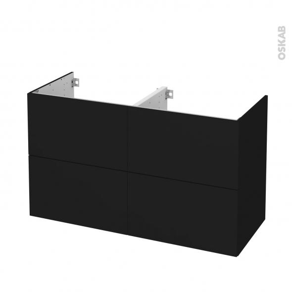 Meuble de salle de bains - Sous vasque double - GINKO Noir - 4 tiroirs - Côtés décors - L120 x H70 x P50 cm