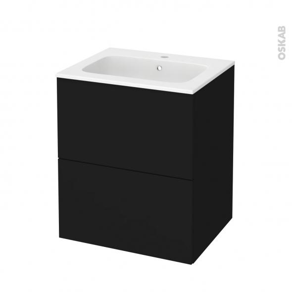 Meuble de salle de bains - Plan vasque REZO - GINKO Noir - 2 tiroirs - Côtés décors - L60,5 x H71,5 x P50,5 cm