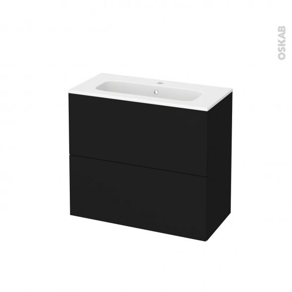Meuble de salle de bains - Plan vasque REZO - GINKO Noir - 2 tiroirs - Côtés décors - L80,5 x H71,5 x P40,5 cm