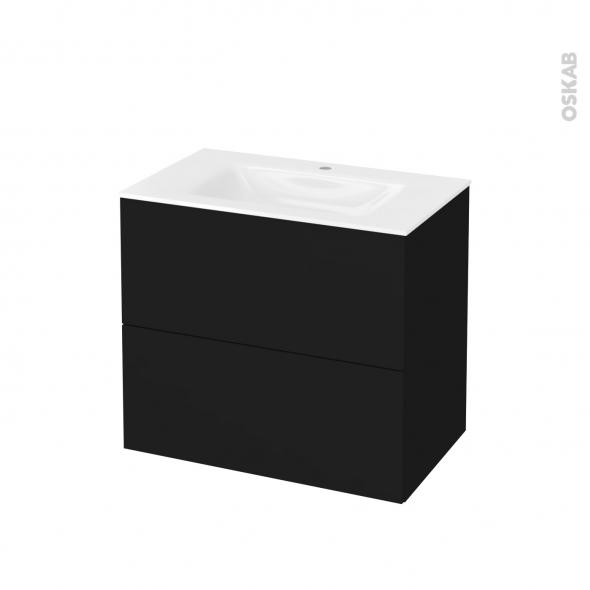 Meuble de salle de bains - Plan vasque VALA - GINKO Noir - 2 tiroirs - Côtés décors - L80,5 x H71,2 x P50,5 cm