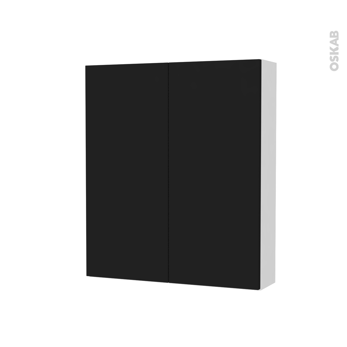Hauteur Armoire De Toilette armoire de toilette rangement haut ginko noir, 2 portes, côtés blancs, l60  x h70 x p17 cm