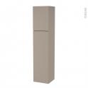 Colonne de salle de bains - 2 portes - GINKO Taupe - Côtés décors - Version A - L40 x H182 x P40 cm