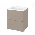 Meuble de salle de bains - Plan vasque NAJA - GINKO Taupe - 2 tiroirs - Côtés décors - L60,5 x H71,5 x P50,5 cm