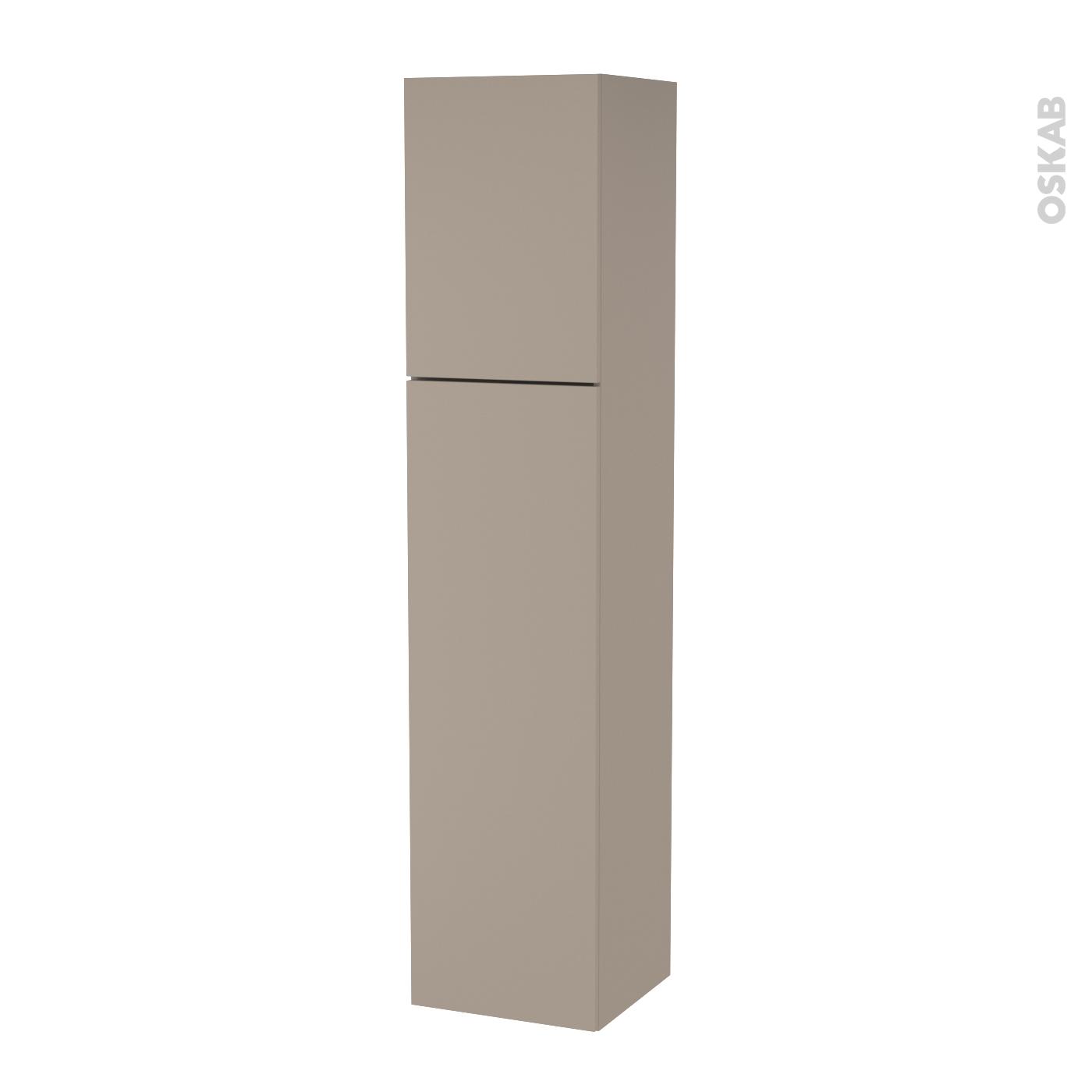 Colonne de salle de bains 2 portes GINKO Taupe Côtés décors Version A L40 x  H182 x P40 cm - Oskab