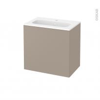 Meuble de salle de bains - Plan vasque REZO - GINKO Taupe - 1 porte - Côtés décors - L60,5 x H58,5 x P40,5 cm