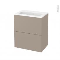 Meuble de salle de bains - Plan vasque REZO - GINKO Taupe - 2 tiroirs - Côtés décors - L60,5 x H71,5 x P40,5 cm