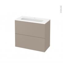 Meuble de salle de bains - Plan vasque REZO - GINKO Taupe - 2 tiroirs - Côtés décors - L80,5 x H71,5 x P40,5 cm