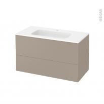 Meuble de salle de bains - Plan vasque REZO - GINKO Taupe - 2 tiroirs - Côtés décors - L100,5 x H58,5 x P50,5 cm