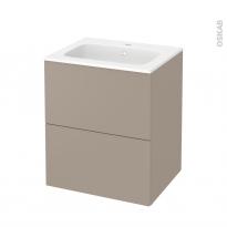 Meuble de salle de bains - Plan vasque REZO - GINKO Taupe - 2 tiroirs - Côtés décors - L60,5 x H71,5 x P50,5 cm