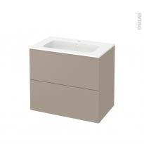 Meuble de salle de bains - Plan vasque REZO - GINKO Taupe - 2 tiroirs - Côtés décors - L80,5 x H71,5 x P50,5 cm