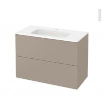 Meuble de salle de bains - Plan vasque REZO - GINKO Taupe - 2 tiroirs - Côtés décors - L100,5 x H71,5 x P50,5 cm