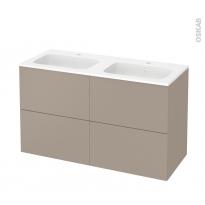 Meuble de salle de bains - Plan double vasque REZO - GINKO Taupe - 4 tiroirs - Côtés décors - L120,5 x H71,5 x P50,5 cm