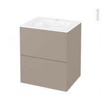 Meuble de salle de bains - Plan vasque VALA - GINKO Taupe - 2 tiroirs - Côtés décors - L60,5 x H71,2 x P50,5 cm