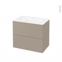 Meuble de salle de bains - Plan vasque VALA - GINKO Taupe - 2 tiroirs - Côtés décors - L80,5 x H71,2 x P50,5 cm