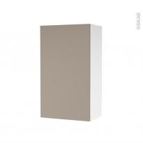 Armoire de salle de bains - Rangement haut - GINKO Taupe - 1 porte - Côtés blancs - L40 x H70 x P27 cm