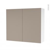 Armoire de salle de bains - Rangement haut - GINKO Taupe - 2 portes - Côtés blancs - L80 x H70 x P27 cm