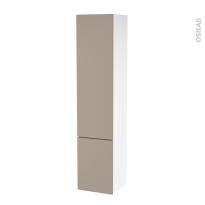 Colonne de salle de bains - 2 portes - GINKO Taupe - Côtés blancs - Version B - L40 x H182 x P40 cm