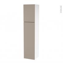 Colonne de salle de bains - 2 portes - GINKO Taupe - Côtés blancs - Version A - L40 x H182 x P40 cm