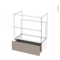 Tiroir sous meuble - Socle n°101 - GINKO Taupe - pour meuble salle de bains - L80 x H26 x P45 cm