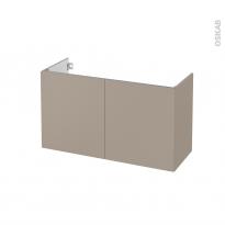 Meuble de salle de bains - Sous vasque - GINKO Taupe - 2 portes - Côtés décors - L100 x H57 x P40 cm