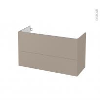 Meuble de salle de bains - Sous vasque - GINKO Taupe - 2 tiroirs - Côtés décors - L100 x H57 x P40 cm