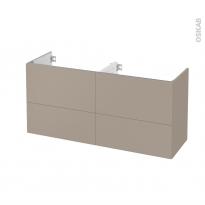 Meuble de salle de bains - Sous vasque double - GINKO Taupe - 4 tiroirs - Côtés décors - L120 x H57 x P40 cm