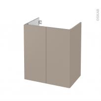 Meuble de salle de bains - Sous vasque - GINKO Taupe - 2 portes - Côtés décors - L60 x H70 x P40 cm