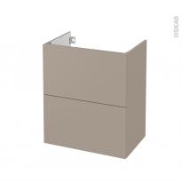 Meuble de salle de bains - Sous vasque - GINKO Taupe - 2 tiroirs - Côtés décors - L60 x H70 x P40 cm