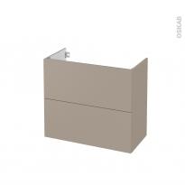 Meuble de salle de bains - Sous vasque - GINKO Taupe - 2 tiroirs - Côtés décors - L80 x H70 x P40 cm