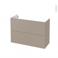 Meuble de salle de bains - Sous vasque - GINKO Taupe - 2 tiroirs - Côtés décors - L100 x H70 x P40 cm