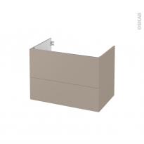 Meuble de salle de bains - Sous vasque - GINKO Taupe - 2 tiroirs - Côtés décors - L80 x H57 x P50 cm