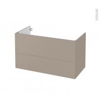 Meuble de salle de bains - Sous vasque - GINKO Taupe - 2 tiroirs - Côtés décors - L100 x H57 x P50 cm